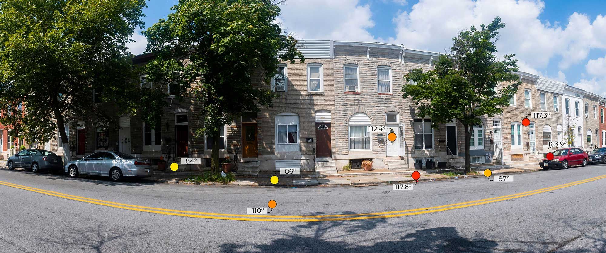 Forward Looking Infrared (FLIR) thermal imaging camera reading from 500 block of North Milton Street, Baltimore, MD, on August 1, 2019 at 11:20 a.m.