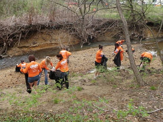 STLF volunteers cleaning up Lower Beaverdam Creek