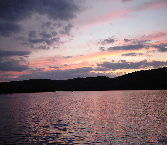 A colorful sunset over Raystown Lake