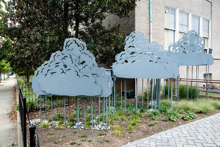 Picture of Rain-harvesting sculpture takes a historic school by storm