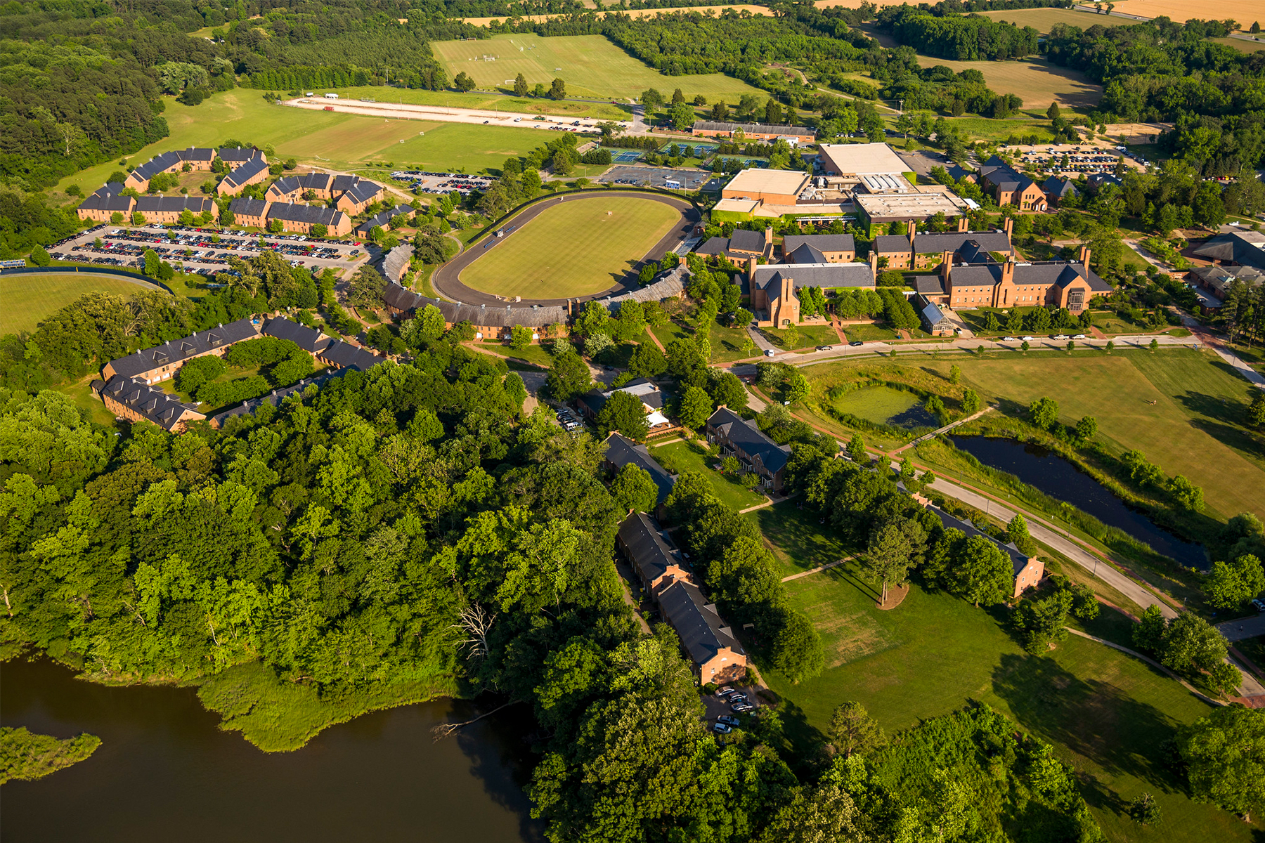 Above view of St. Mary's College of Maryland campus.