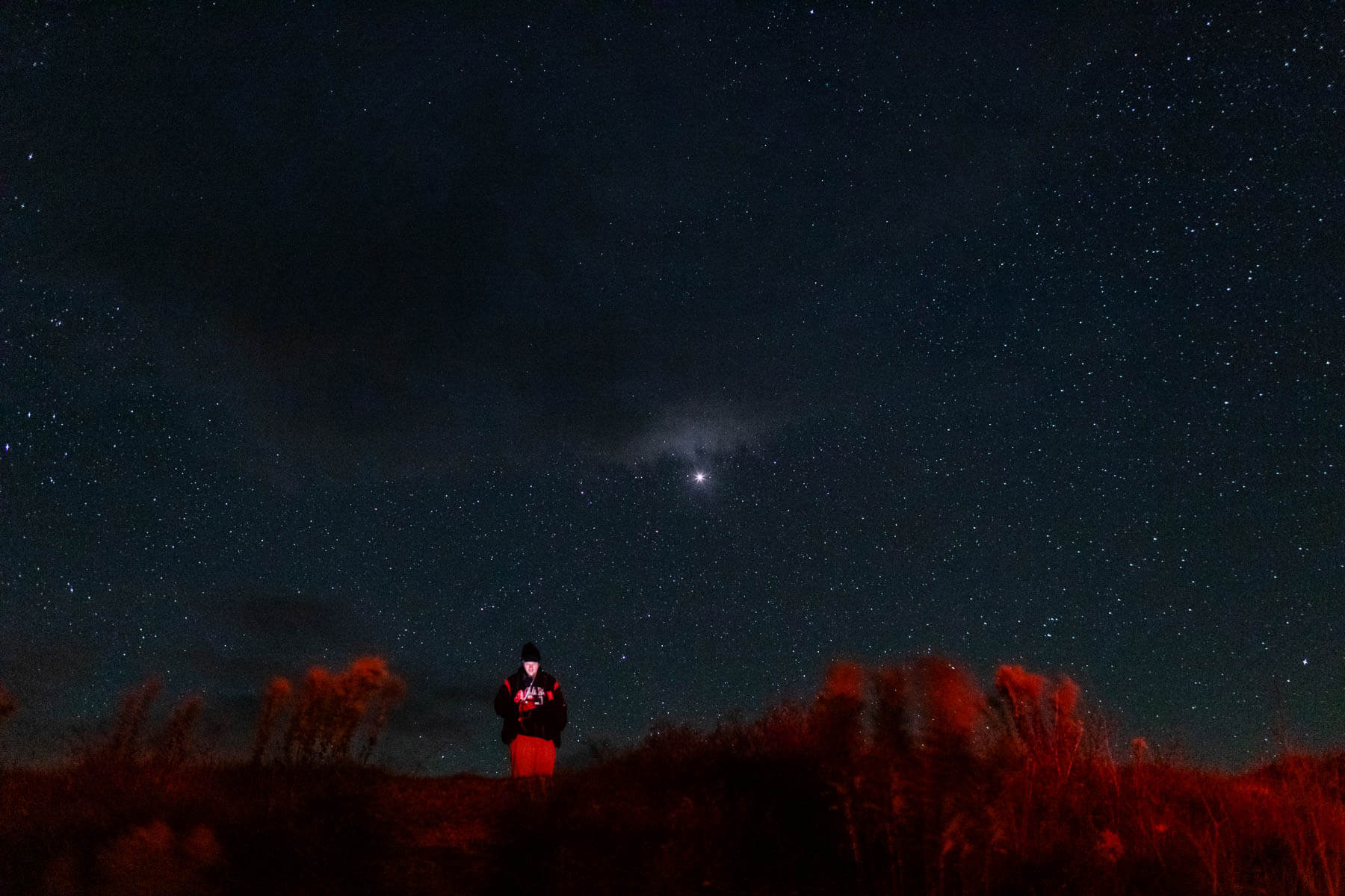 A visitor stands in front of Cherry Springs' starry night sky