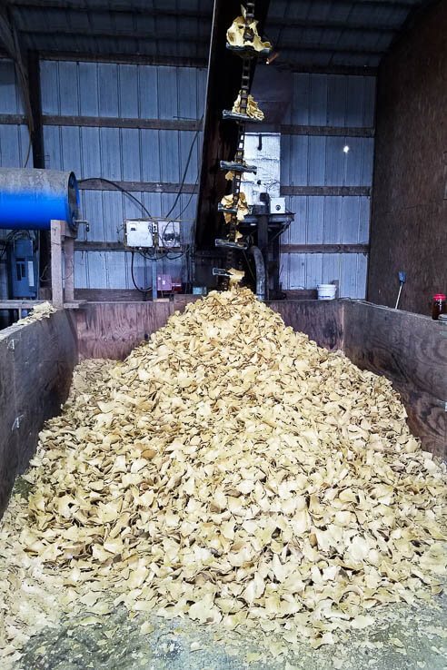 A pile of pressed soybean rests on farm equipment
