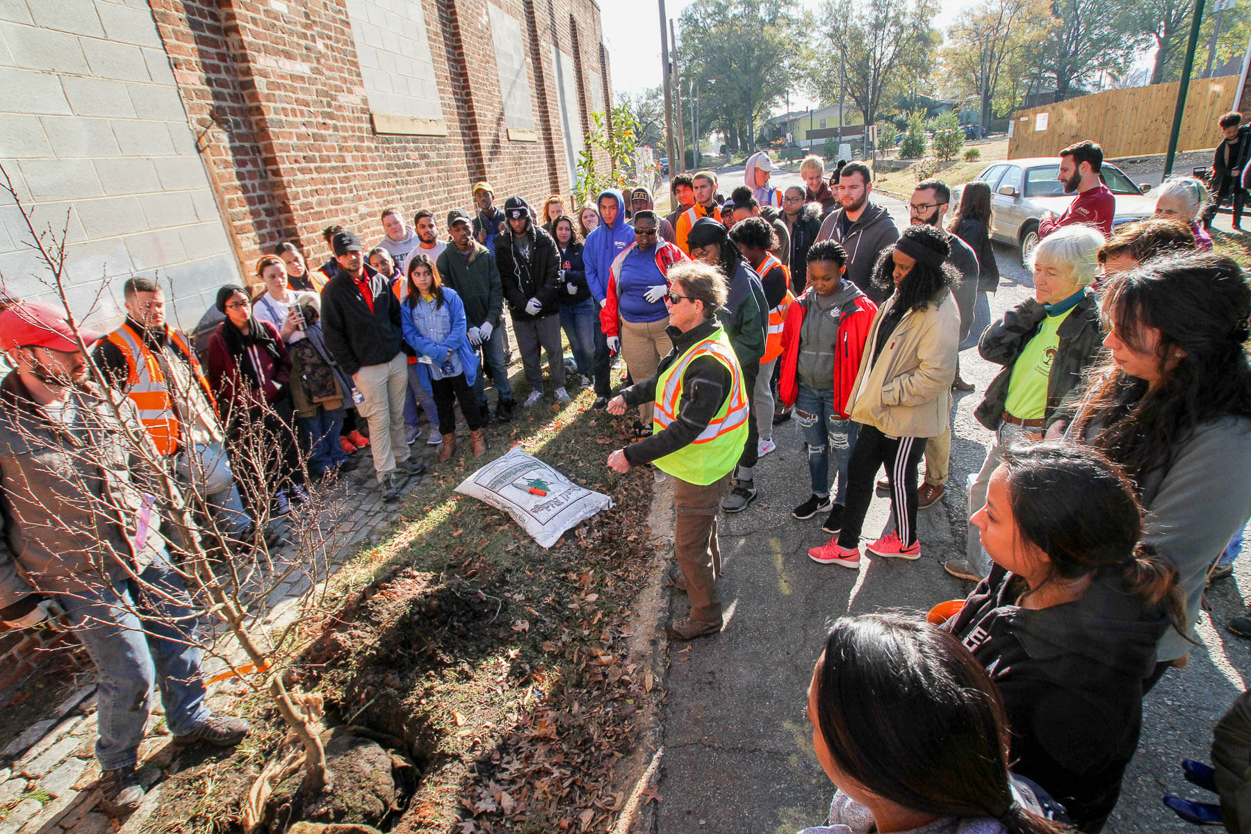 Group of VCU students gather for a tree planting project.