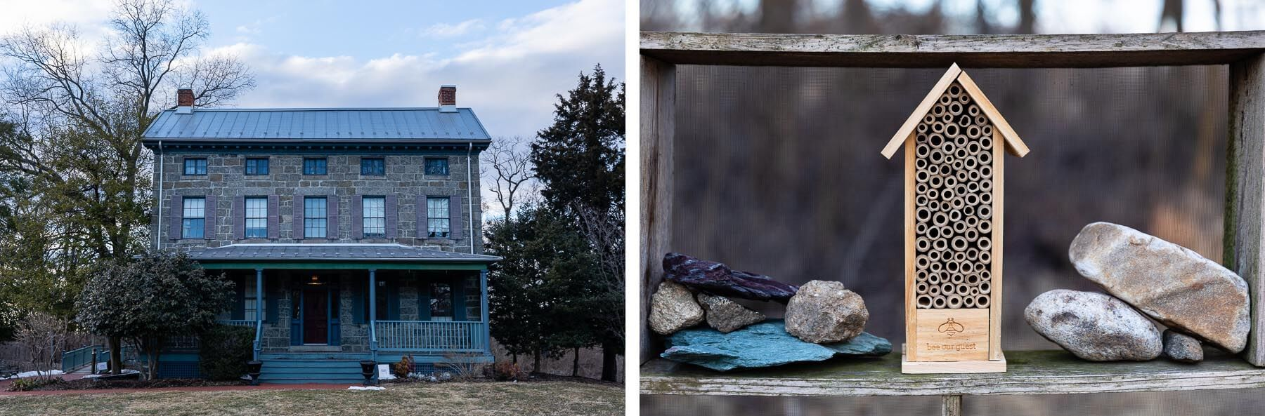 To the left, a stone home sits on the property. To the right, a small bee house.