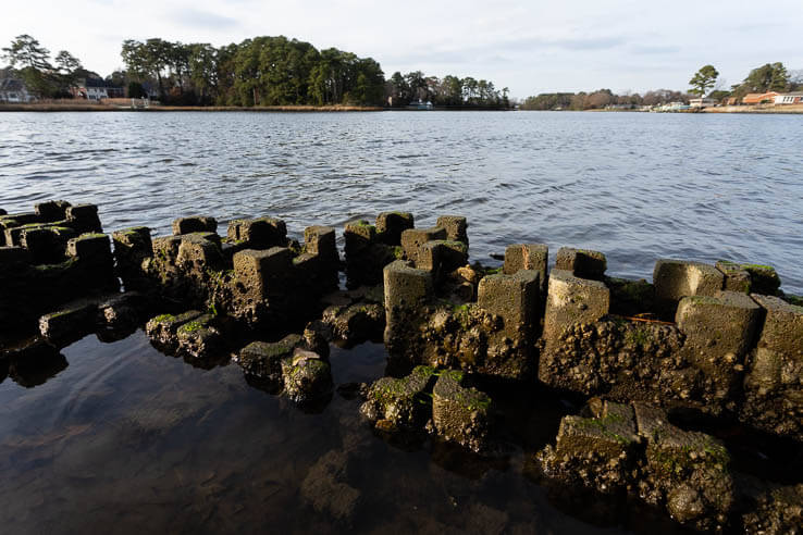 Picture of A new shoreline uses oyster castles to shield a community