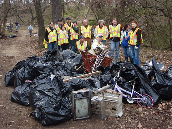 Volunteers at cleanup