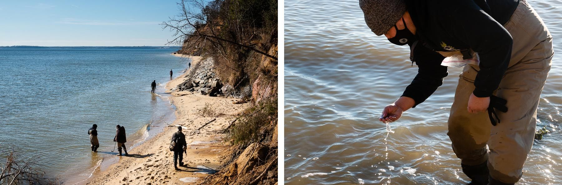 (Left) Fossil hunters walk on Driftwood Beach. (Right) Close up of Victor Perez looking at a shell.