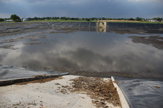 A manure lagoon on Brubaker's Farm.