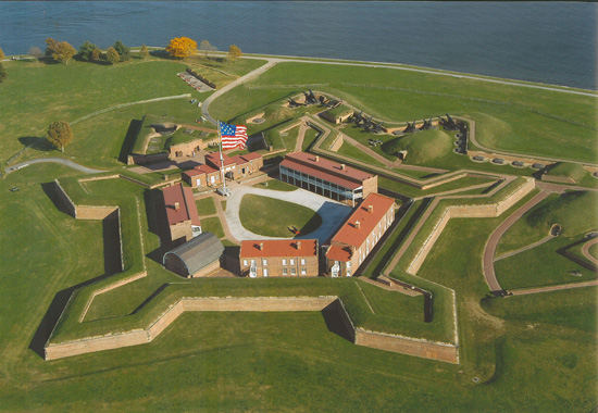 Aerial view of Fort McHenry, part of the Star-Spangled Banner National Historic Trail.