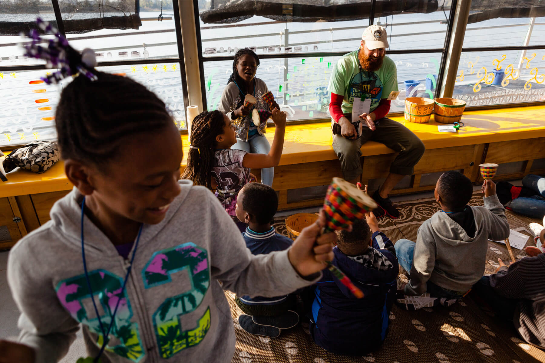 Fourth-grade students learn about art on the Elizabeth River Project's Learning Barge in Norfolk, Virginia.