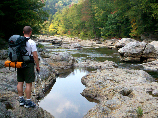 Hiker by Loyaksock Creek (image courtesy Dave Pidgeon)