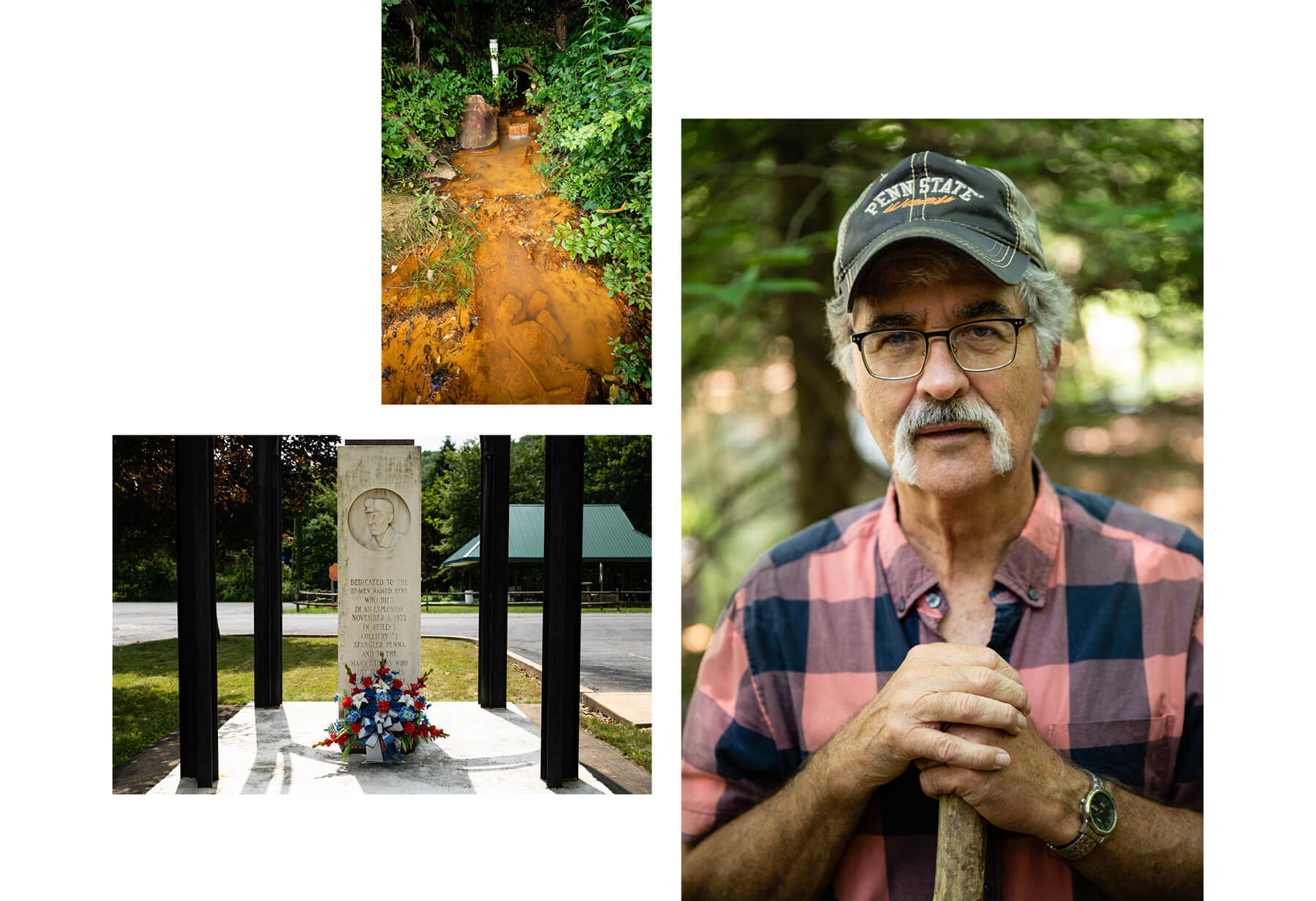 LEFT: A memorial in Patton, Pennsylvania dedicated to those who lost their lives during a AMD treatment plant accident. TOP: An AMD outfall in the headwaters of the West Branch.  RIGHT: Local historian and angler Jack Bartock has seen the West Branch improve over the decades. (Photo by Ethan Weston/Chesapeake Bay Program)