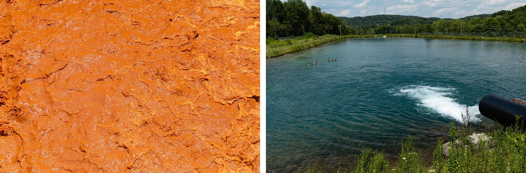 LEFT: Untreated water impared by acid mine drainage. RIGHT: Water after its been treated by the Lancashire plant. (Photo by Ethan Weston/Chesapeake Bay Program)