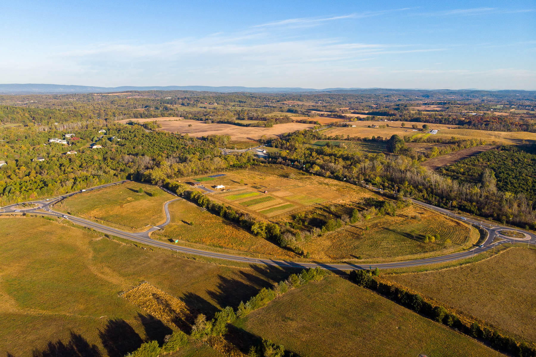 aerial photo of Roundabout Meadows shows where Route 50 and 15 meet.