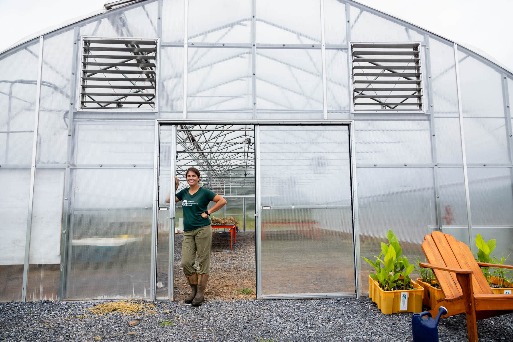 A greenhouse at the Community Farm at Roundabout Meadows.