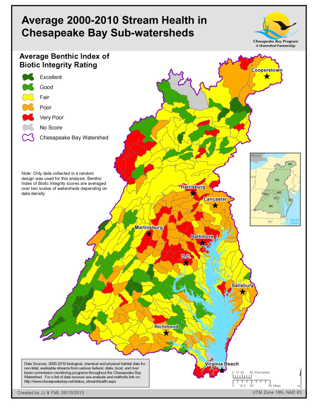 "<strong>Average 2000-2010 Stream Health in the Chesapeake Bay Sub-watersheds</strong><br />An effective way to measure the health of freshwater streams and rivers is to study the many tiny critters that live in these waters, called ""benthic macro-invertebrates."" The abundance and diversity of snails, mussels, insects and other bottom-dwelling organisms are good indicators of the health of streams because they can't move very far and they respond to pollution and environmental stresses.…"