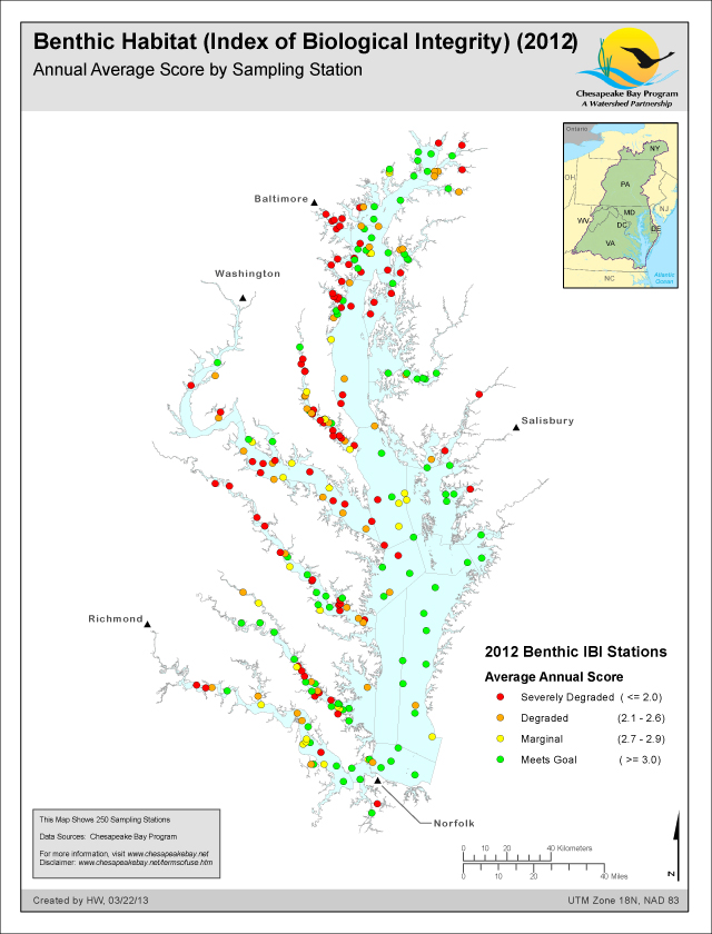 Benthic Habitat (Index of Biological Integrity) (2012) Annual Average Score by Sampling Station