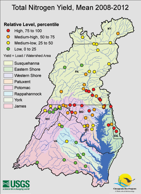 Total Nitrogen Yields Measured in Watershed Streams and Rivers, Mean 2008-2012