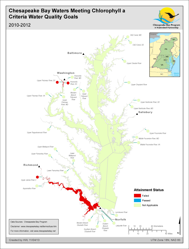 Chesapeake Bay Waters Meeting Chlorophyll a Criteria Water Quality Goals 2010-2012