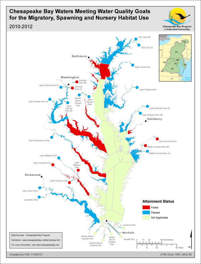 Chesapeake Bay Waters Meeting WQ Goals for the Migratory, Spawning and Nursery Habitat Use 2010-2012