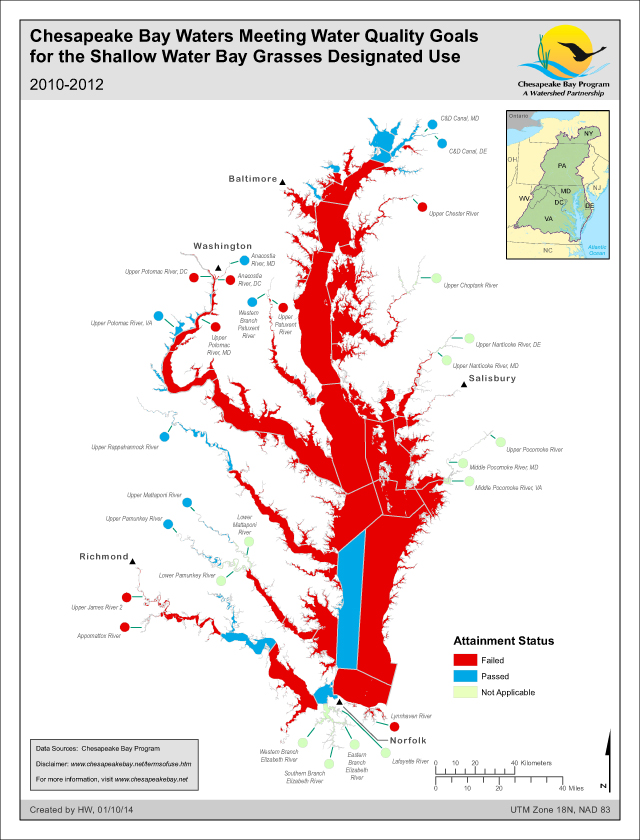 Chesapeake Bay Waters Meeting WQ Goals for the Shallow Water Bay Grasses Designated Use 2010-2012