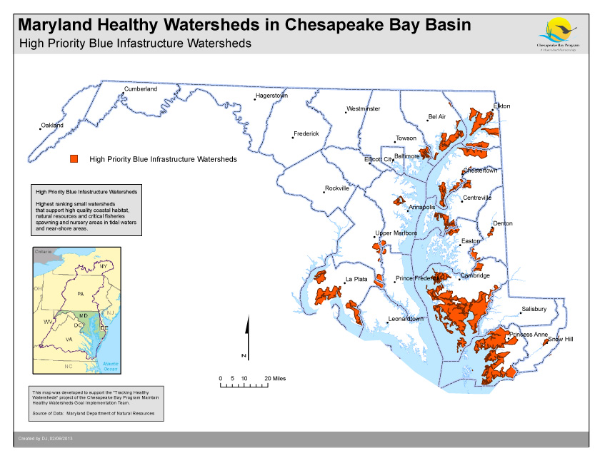 High Priority Blue Infastructure Watersheds- Maryland