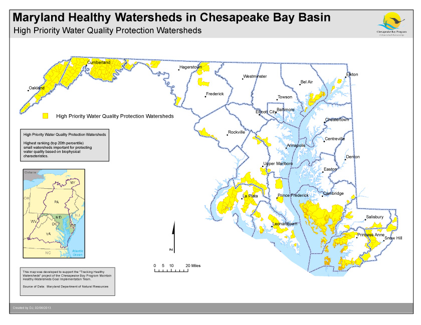 High Priority Water Quality Protection Watersheds- Maryland