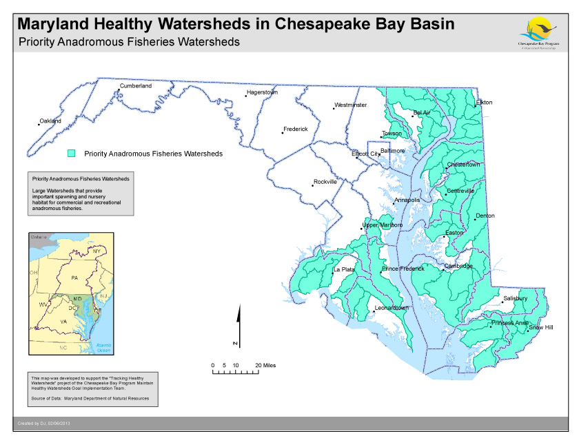 Priority Anadromous Fisheries Watersheds- Maryland