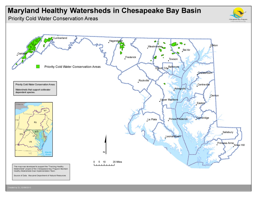 Priority Cold Water Conservation Areas- Maryland