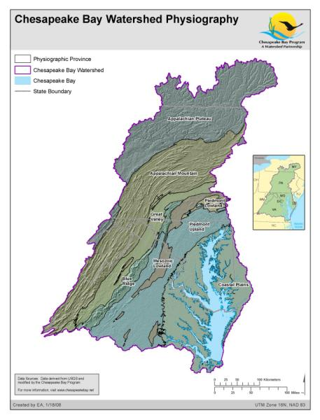 <strong>Chesapeake Bay Watershed Physiography</strong><br />Physiographic provinces in the Chesapeake Bay Watershed. Physiographic data derived from USGS and modified by the Chesapeake Bay Program GIS Team to divide the Piedmont into three distinct regions. Two out of the eight major US physiographic regions fall within the Chesapeake Bay Watershed; the Atlantic Plains and Appalachian Highlands. Within these regions, there are eight provinces within the…
