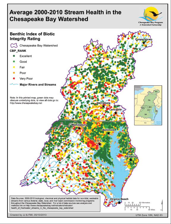 Average 2000-2010 Stream Health in the Chesapeake Bay Watershed
