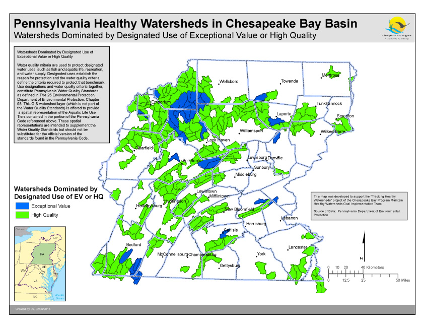 Watersheds Dominated by Designated Use of Exceptional Value or High Quality- PA