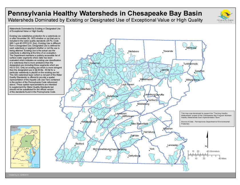 Watersheds Dominated by Existing or Designated Use of Exceptional Value or High Quality- PA