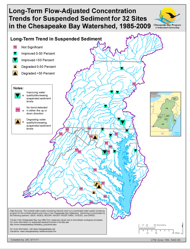 Long-Term Flow-Adjusted Trends for Suspended Sediment (32 Sites in the Chesapeake Bay Watershed)