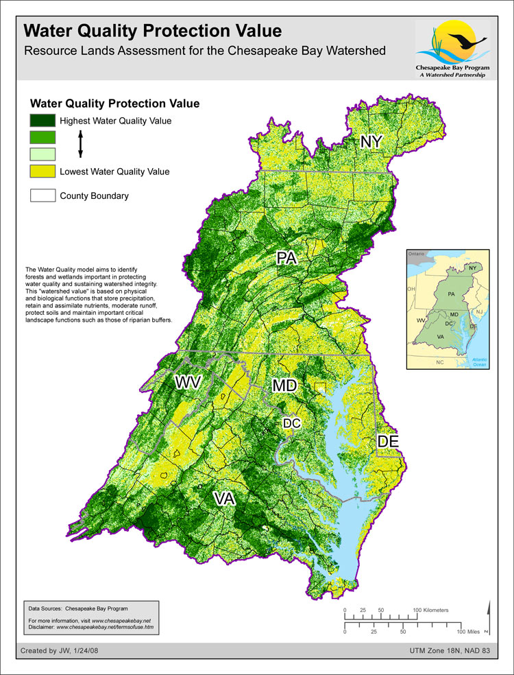 <strong>Water Quality Protection Value - Resource Lands Assessment</strong><br />The Water Quality model aims to identify forests and wetlands important in protecting water quality and sustaining watershed integrity. This