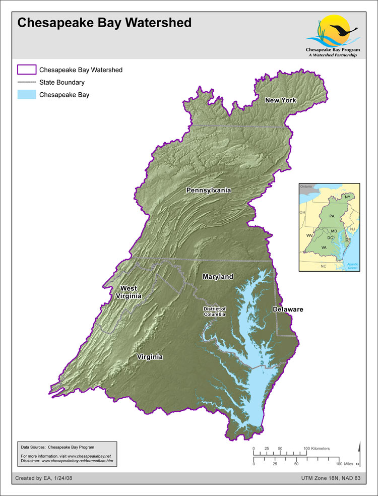 <strong>Chesapeake Bay Watershed</strong><br />Outline of the Chesapeake Bay watershed with elevation relief.