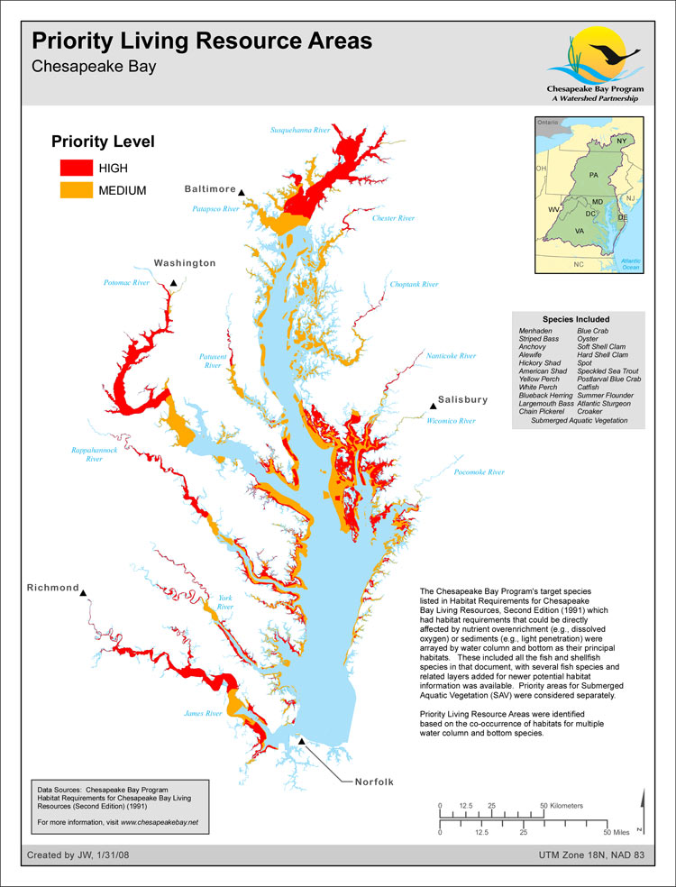 <strong>Priority Living Resource Areas</strong><br />The Chesapeake Bay Program's target species listed in Habitat Requirements for Chesapeake Bay Living Resources, Second Edition (1991) which had habitat requirements that could be directly affected by nutrient over enrichment (e.g., dissolved oxygen) or sediments (e.g., light penetration) were arrayed by water column and bottom as their principal habitats.   These included all the fish and…