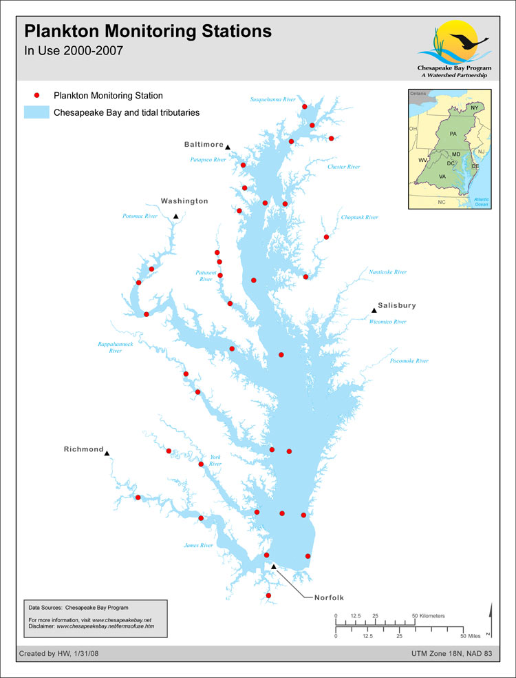 Plankton Monitoring Stations - In Use 2000-2007