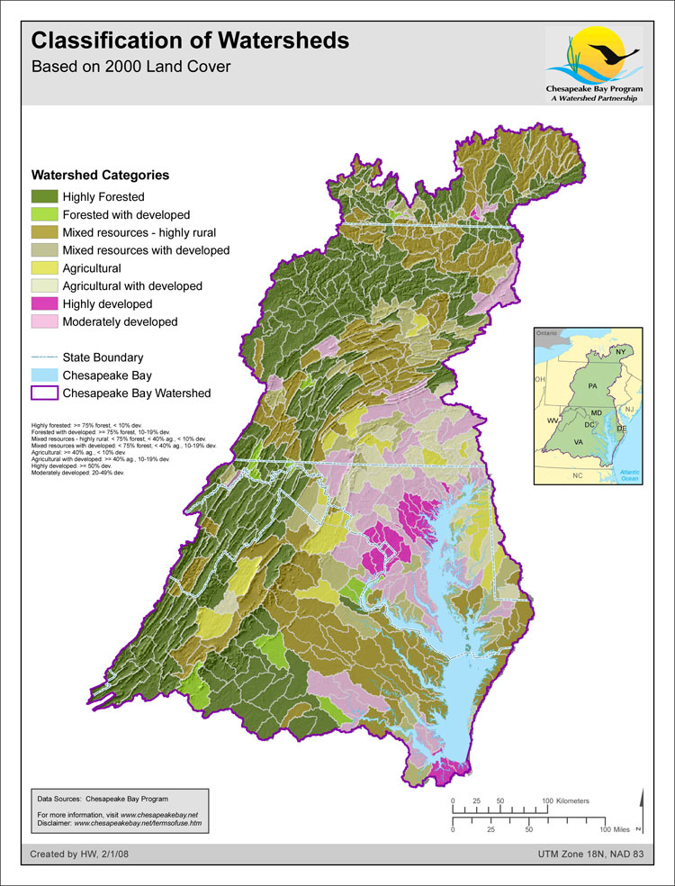 Classification of Watersheds - Based on 2000 Land cover