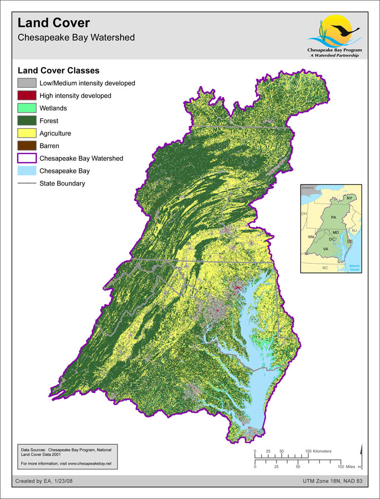 <strong>Land Cover: Chesapeake Bay Watershed</strong><br />The National Land Cover Database 2001 land cover layer for mapping zone 60 was produced through a cooperative project conducted by the Multi-Resolution Land Characteristics (MRLC) Consortium, a partnership of federal agencies (www.mrlc.gov), consisting of the U.S. Geological Survey (USGS), the National Oceanic and Atmospheric Administration (NOAA), the U.S. Environmental Protection Agency (EPA),…