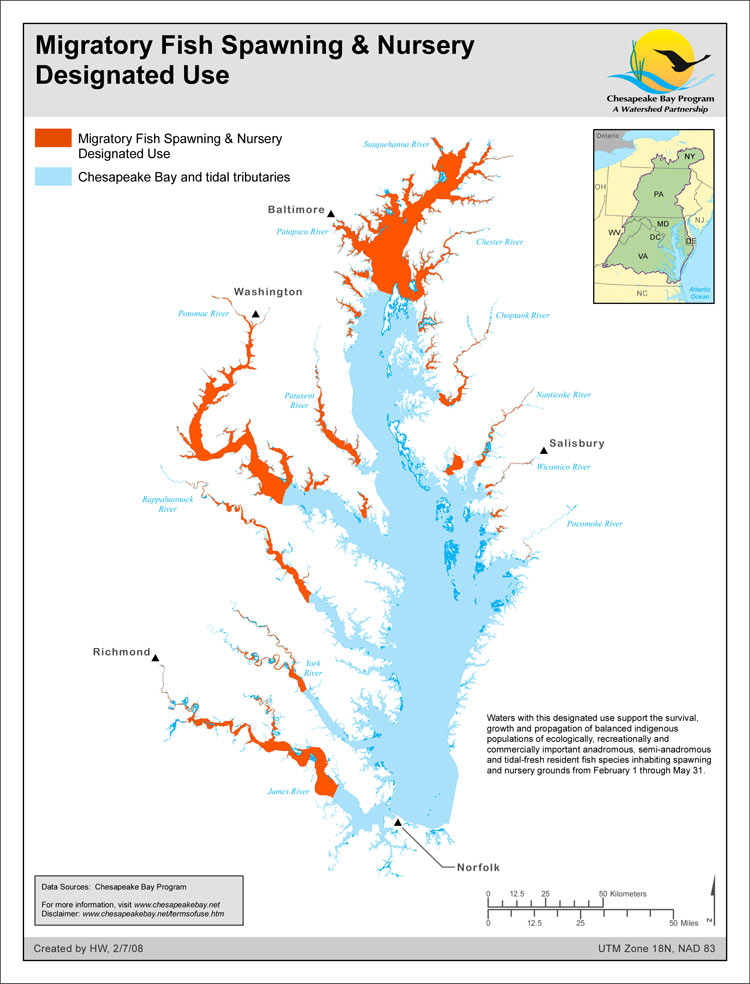 Migratory Fish Spawning & Nursery Designated Use