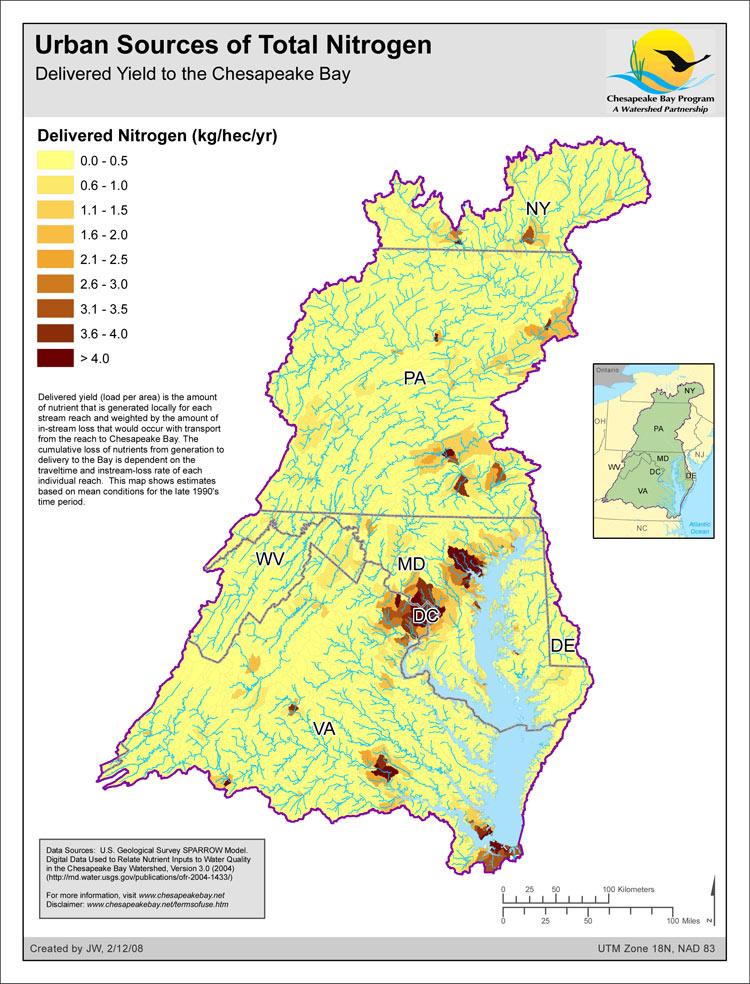 Delivered Yield of Total Nitrogen - Urban Sources