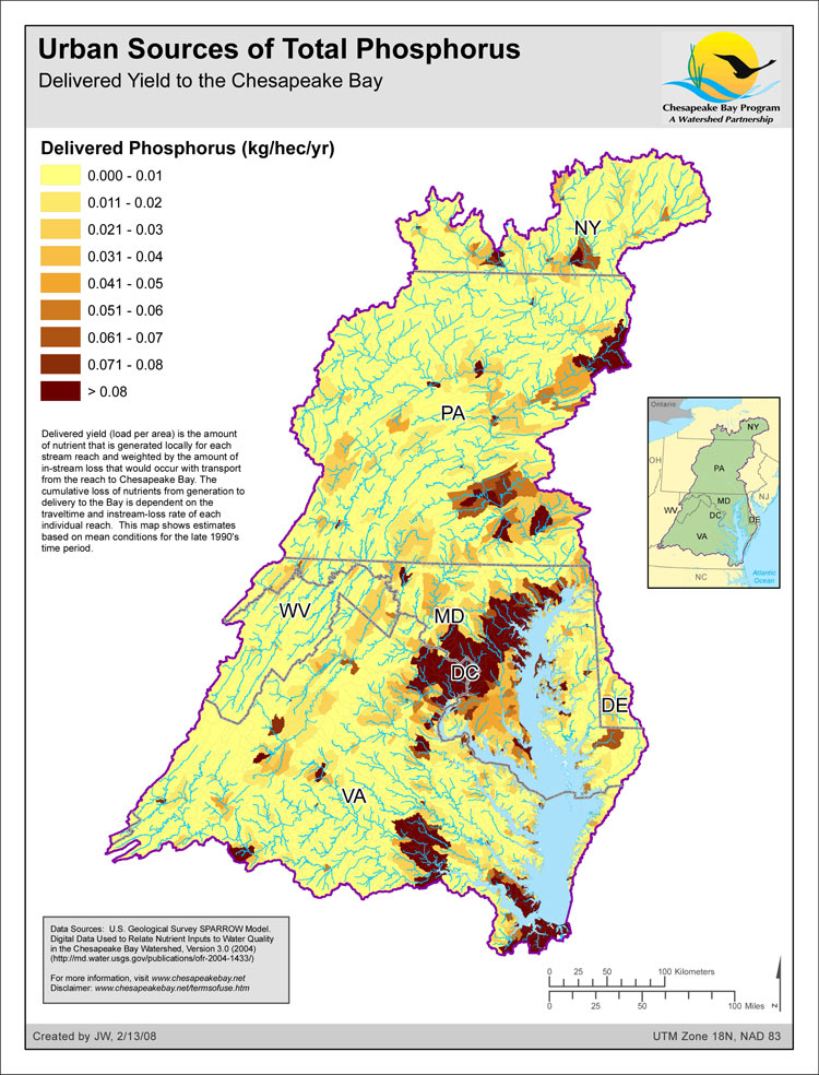 Delivered Yield of Total Phosphorus - Urban Sources