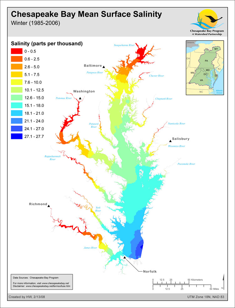 Chesapeake Bay Mean Surface Salinity - Winter (1985-2006)