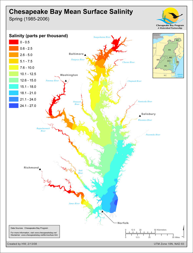 <strong>Chesapeake Bay Mean Surface Salinity - Spring (1985-2006)</strong><br />The salinity of the waters in the Chesapeake Bay and its tidal tributaries varies from season to season and year to year depending largely on the amount of freshwater flowing into the Bay.  The salinity of these tidal waters has an effect on such things as fish spawning habitat, bay grass species distribution, oyster distribution and the likely distribution of the oyster-killing parasites Dermo…