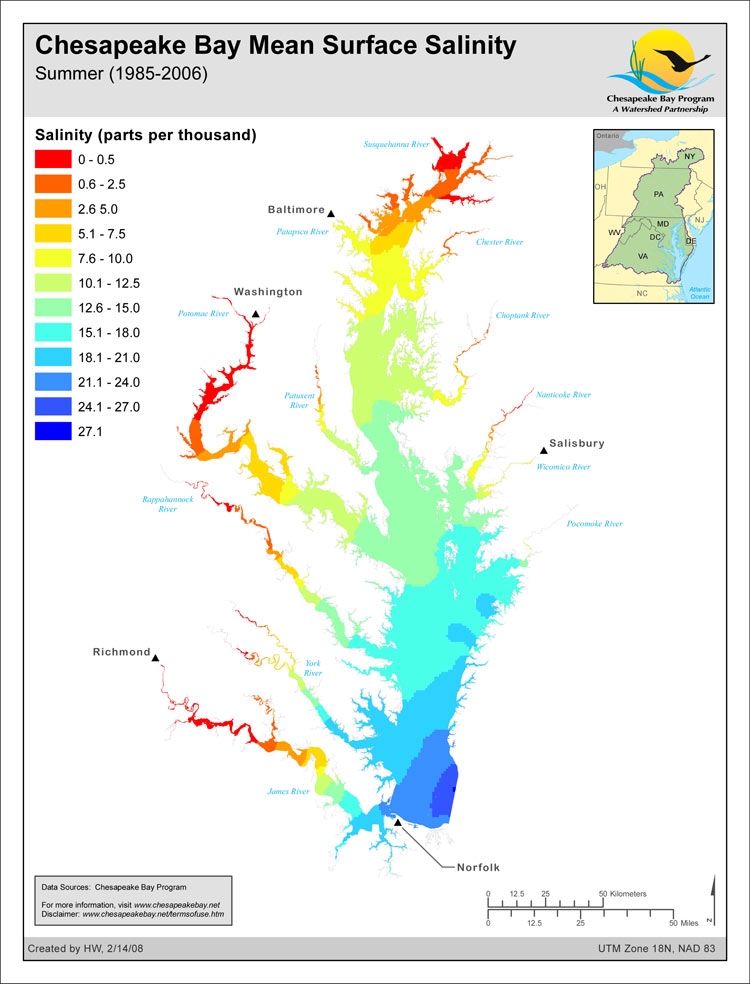 <strong>Chesapeake Bay Mean Surface Salinity - Summer (1985-2006)</strong><br />The salinity of the waters in the Chesapeake Bay and its tidal tributaries varies from season to season and year to year depending largely on the amount of freshwater flowing into the Bay.  The salinity of these tidal waters has an effect on such things as fish spawning habitat, bay grass species distribution, oyster distribution and the likely distribution of the oyster-killing parasites Dermo…