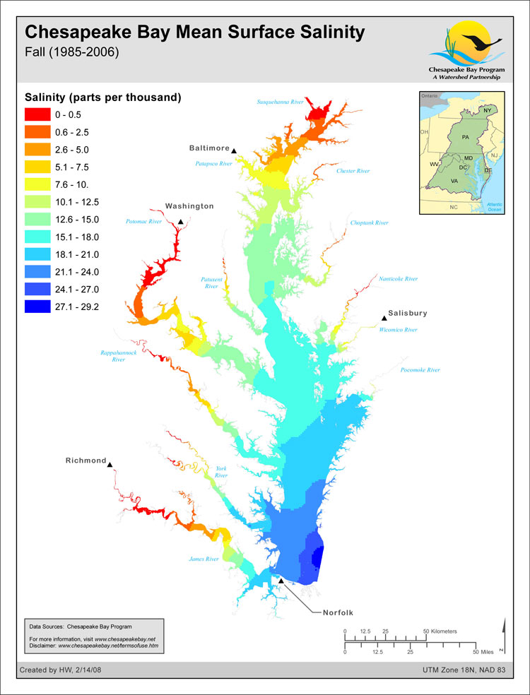 <strong>Chesapeake Bay Mean Surface Salinity - Fall (1985-2006)</strong><br />The salinity of the waters in the Chesapeake Bay and its tidal tributaries varies from season to season and year to year depending largely on the amount of freshwater flowing into the Bay.  The salinity of these tidal waters has an effect on such things as fish spawning habitat, bay grass species distribution, oyster distribution and the likely distribution of the oyster-killing parasites Dermo…