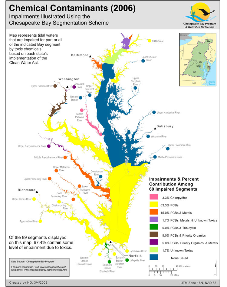 <strong>Chemical Contaminants (2006)</strong><br />Tidal waters that are impaired for part or all of indicated Bay segment by toxic chemicals based on each state's implementation of the Clean Water Act.