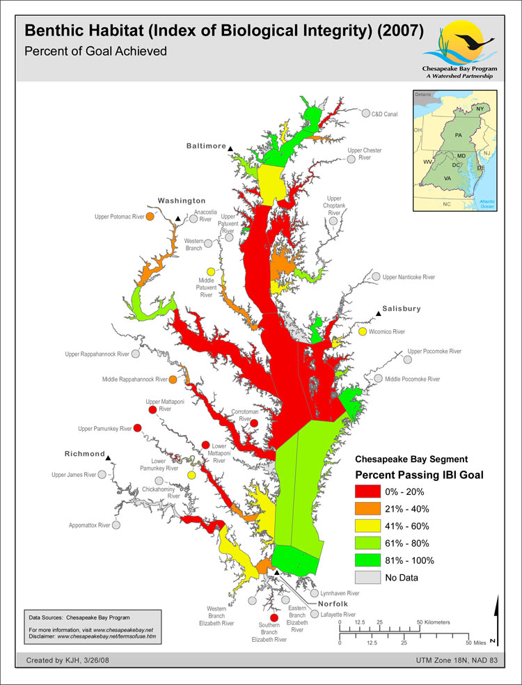 Benthic Habitat (Index of Biological Integrity) (2007) Percent of Goal Achieved
